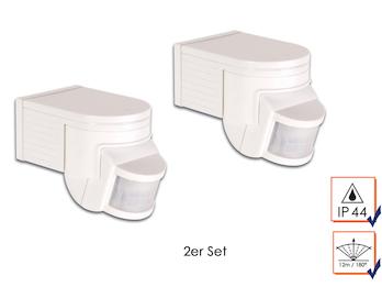 2er Set PIR-Bewegungsmelder, weiß, 12m/180°, Zeitintervall, max. 1200W, IP44