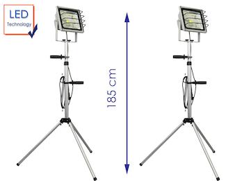 2er-SET LED Fluter 50W mit Stativ / Baustrahler, 3000 Lm, IP65, alusilber