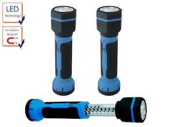 2er SET LED Taschenlampe / Arbeitsleuchte + Magnet, mit Akku, Teleskopfunktion