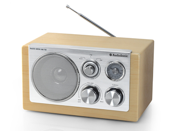 Stylisches Retro Radio, Buche Optik, Aux-in - 5 Watt, MW / UKW