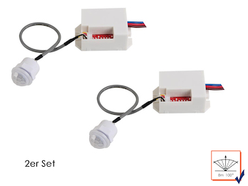 2er Set Mini PIR-Bewegungsmelder, zum Einbauen, 100°/8m, Zeitintervall wählbar