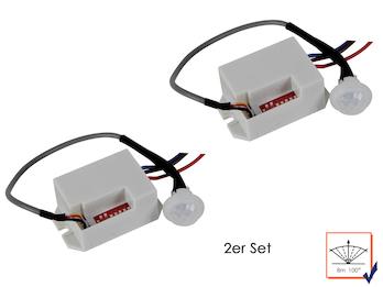 2er Set Mini PIR-Bewegungsmelder, Einbauen, 100°/8m, Zeitintervall wählbar-12Vdc