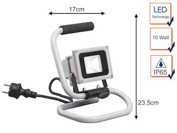 LED Flutlichtstrahler Arbeitsleuchte tragbar, 10W, 600 Lumen, IP65, 6000 Kelvin