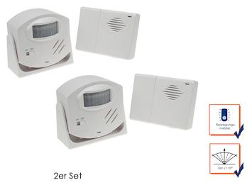 2er Set Funktürklingel, Alarmfunktion & PIR-Bewegungsmelder, Reichweite 110°/10m