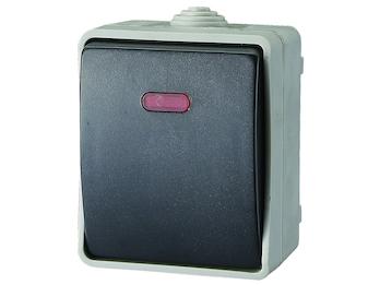 Aufputz-Kontrollschalter / Feuchtraum-Wechselschalter mit Lampe IP54