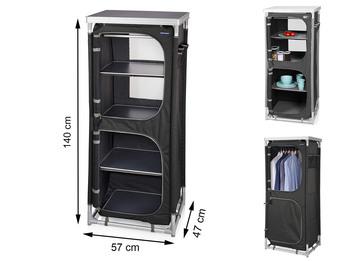 Campingschrank, 4 Fächer, Kleiderstange, Aluminiumrahmen, Stoffbezug Polyester,