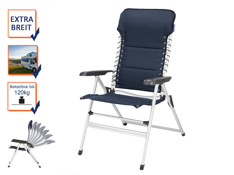 Stabiler ALU Hochlehner Campingstuhl mit Komfort – gepolstert & klappbar in Blau