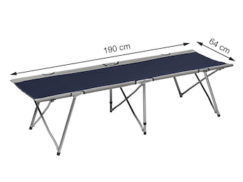 Faltbares Feldbett, ein praktisches Gästebett mit Aufbewahrungstasche in Blau
