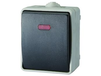 Beleuchteter Aufputz-Tasterschalter / Kontrollschalter für Feuchträume, IP54