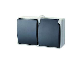 Aufputz Schutzkontaktsteckdose mit Deckel und Wechselschalter für Außenbereich