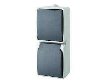 Aufputz Schalter/Schutzkontaktsteckdosen Kombination, 2-polig, horizontal, IP54