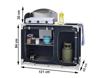 Campingküche ALICANTE mit Spüle, Windschutz & 2 Fächern - Campingschrank Outdoor