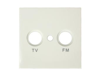TV und FM Abdeckung aus Kunststoff, in Cremeweiß