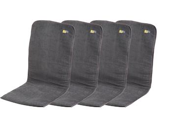 4er Set gepolsterte Sitzauflagen in Anthrazit; 125 x 54 x 1/2 cm