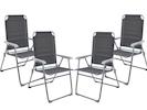 4er-Set faltbare Campingstühle/ Klappstühle, Sitzhöhe 44cm, Belastbar bis 120kg