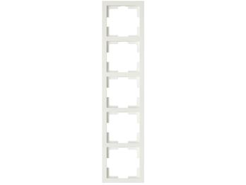 5-fach Rahmen / Schalterblende Modul in weiß, eckig, senkrecht