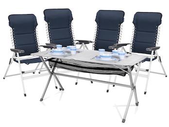 Camping SET Alu Campingtisch groß mit Stühlen Rolltisch und Stuhl klappbar