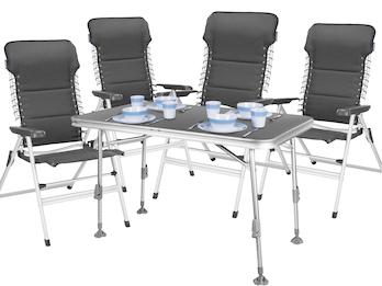 5tlg. Sitzgruppe Essgruppe für Garten und Camping, Tisch 115 x 70 x 75/55 cm