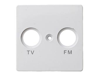 TV und FM Abdeckung aus Kunststoff, in polarweiß, eckig
