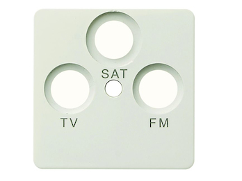 Abdeckung SAT-Steckdose aus Kunststoff, in weiß, eckig