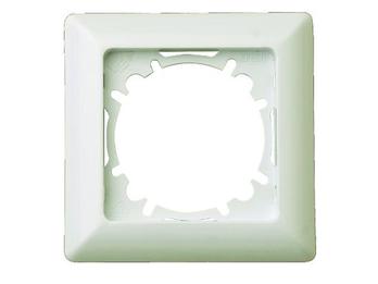 1-fach Rahmen/Schalterblende aus Kunststoff, in Cremeweiß, eckig