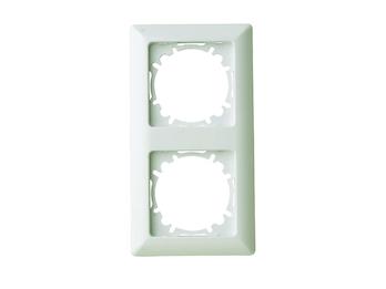 2-fach Rahmen/Schalterblende für den Innenbereich aus Kunststoff, in Cremeweiß