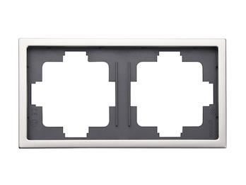 2-fach Rahmen / Blende, Edelstahl beschichtet, für den Innenbereich, eckig
