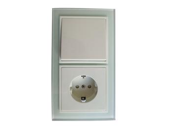 Hochwertige Schalter-Steckdosen-Kombi inkl. Echtglas Rahmen, Tec-Line