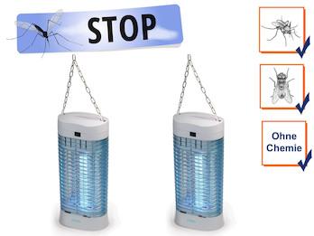 2er Set UV Insektenvernichter mit & Aufhängung, Stechmückenfallen Mückenschutz