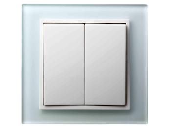 Hochwertiges Doppelwechselschalterset inkl. Glasrahmen aus der Serie Tec-Line