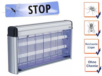 Profi Insektenvernichter mit 2x 10Watt UV-Lampen, Wirkungskreis bis 80 m²