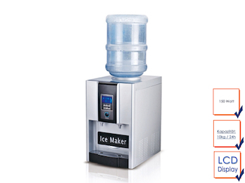 Profi Eiswürfelbereiter mit Wasser Dispender, 150 Watt, mit Wasseranschluss