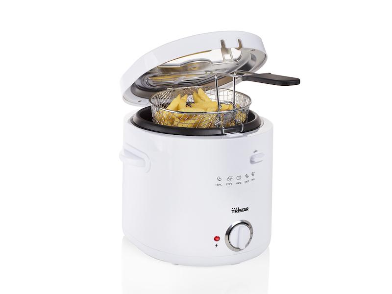 Kleine Mini Fritteuse in Weiß mit Cooltouch Gehäuse 1000 Watt 1,5 Liter