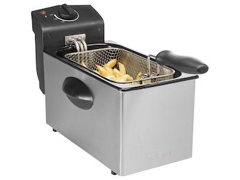 Edelstahl Fritteuse 2000 Watt, 3 Liter, Zubehör spülmaschinenfest