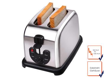 Profi Edelstahl-Toaster, 850-1000 Watt, 4 Funktionen, Krümelschublade