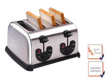 Profi Edelstahl-Toaster, 145-1750 Watt, 4 Funktionen, Krümelschublade