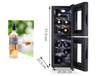 Zwei-Zonen Weinkühlschrank für 12 Flaschen, 7-18° C, Anzeige mit Touchfunktion
