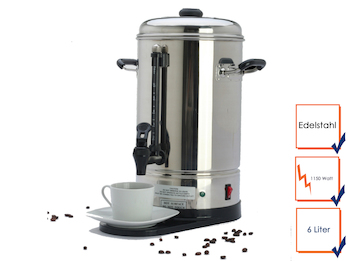 Profi Kaffeebereiter aus Edelstahl, 6 Liter, 2 Heizsysteme, 1150 Watt