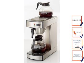 Profi Filterkaffeemaschine mit 2 Glaskannen, bis zu 100 Tassen / Stunde