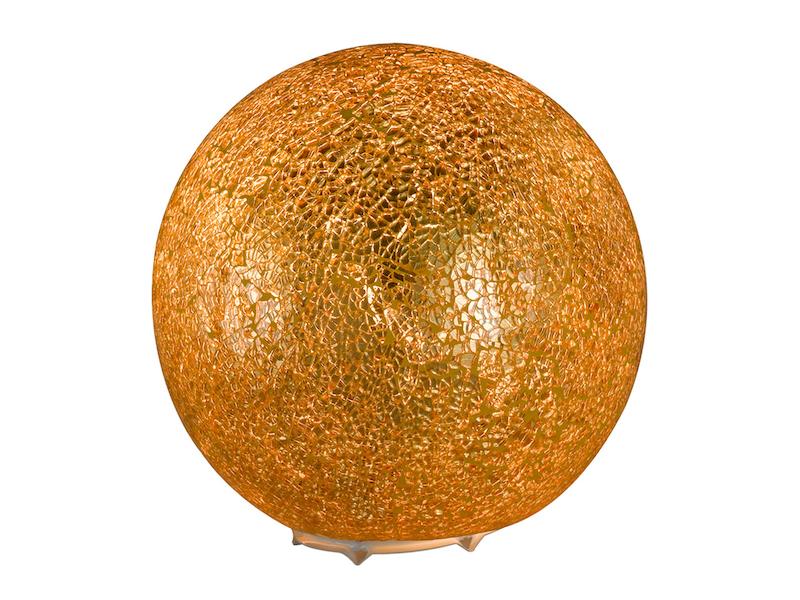 Kugel Tischleuchte Glas Goldfarbig craquele Ø 20cm Wohnraumleuchte Design Lampe
