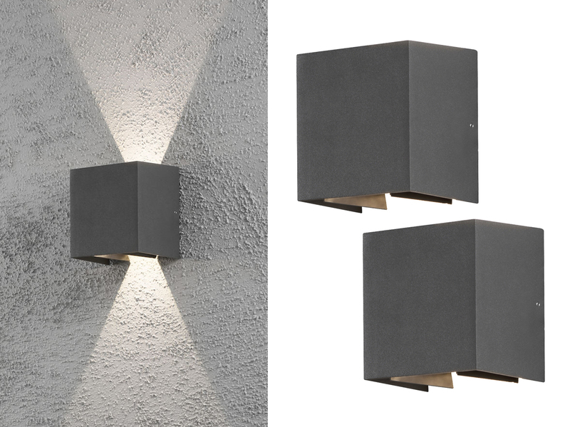 Hervorragend 2er Set LED Außenleuchte Anthrazit Up & Down Fassadenbeleuchtung UX63