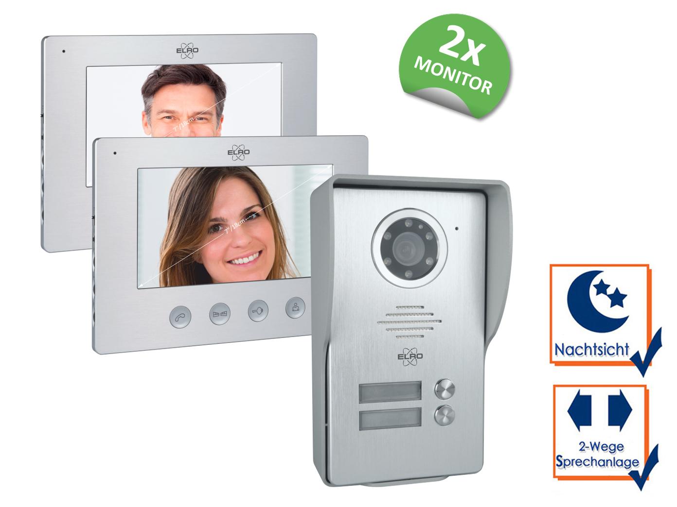 Video Türsprechanlage mit 2x Monitor & Außenkamera, Klingelanlage 2Familienhaus 3