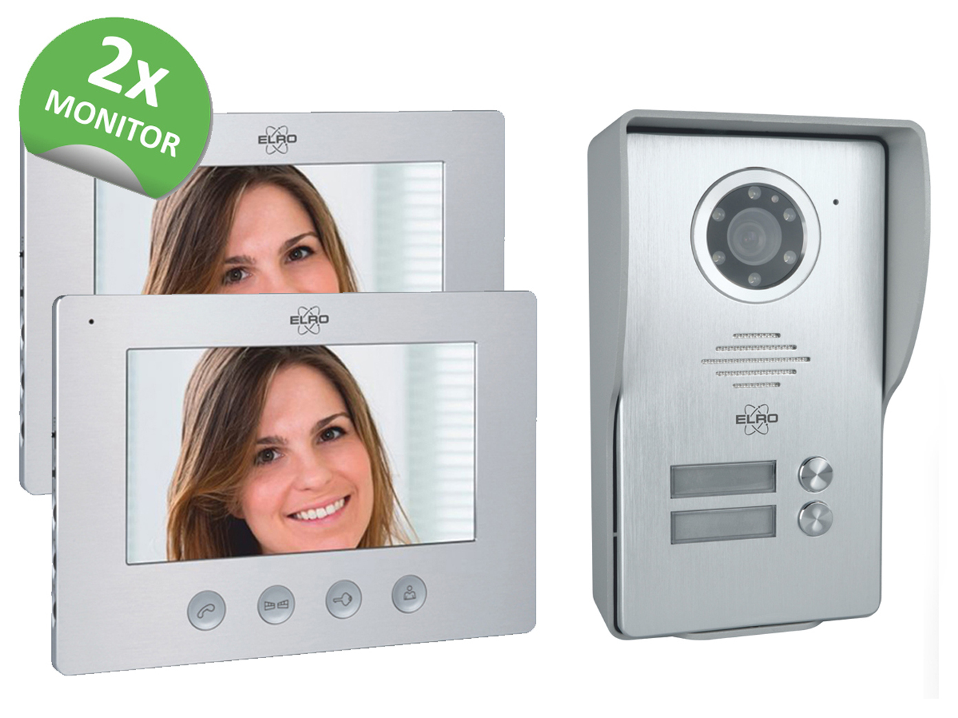 Video Türsprechanlage mit 2x Monitor & Außenkamera, Klingelanlage 2Familienhaus 2
