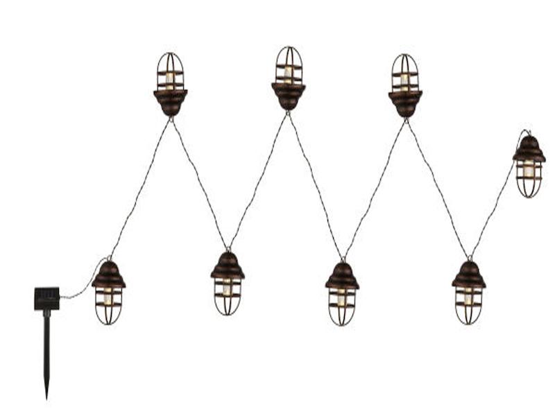 led lichterkette mit 8 laternen ip44 solarbeleuchtung. Black Bedroom Furniture Sets. Home Design Ideas