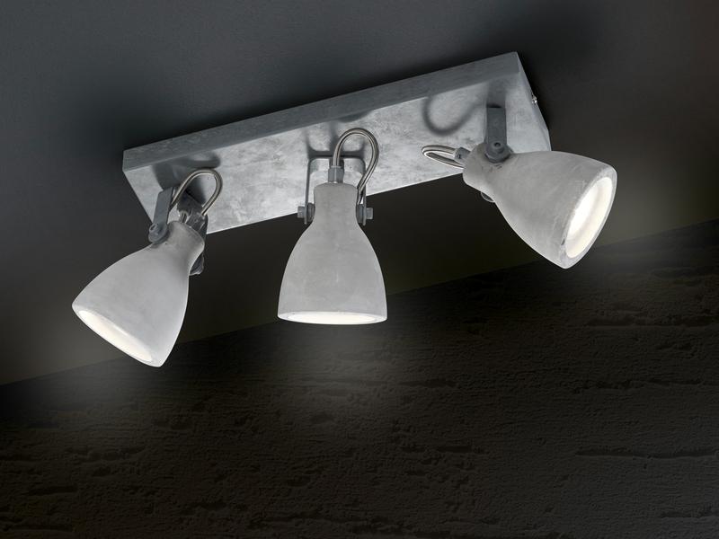 Retro LED Deckenstrahler 2 Lampenschirme aus Beton schwenkbar Wohnraumleuchten