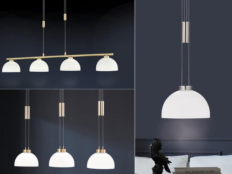 klassische Esstischlampe Höhenverstellbare LED Hängelampe 4 Glasschirme weiß