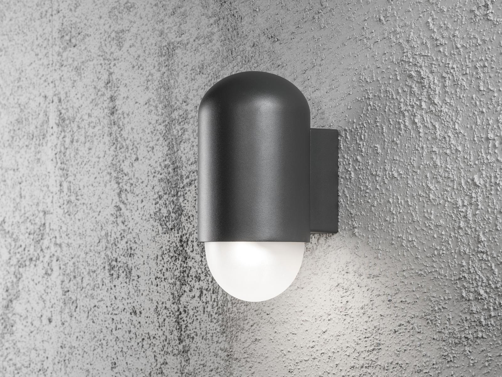 Hp led lampada parete sassari antracite ip44 4w 280 lm muro