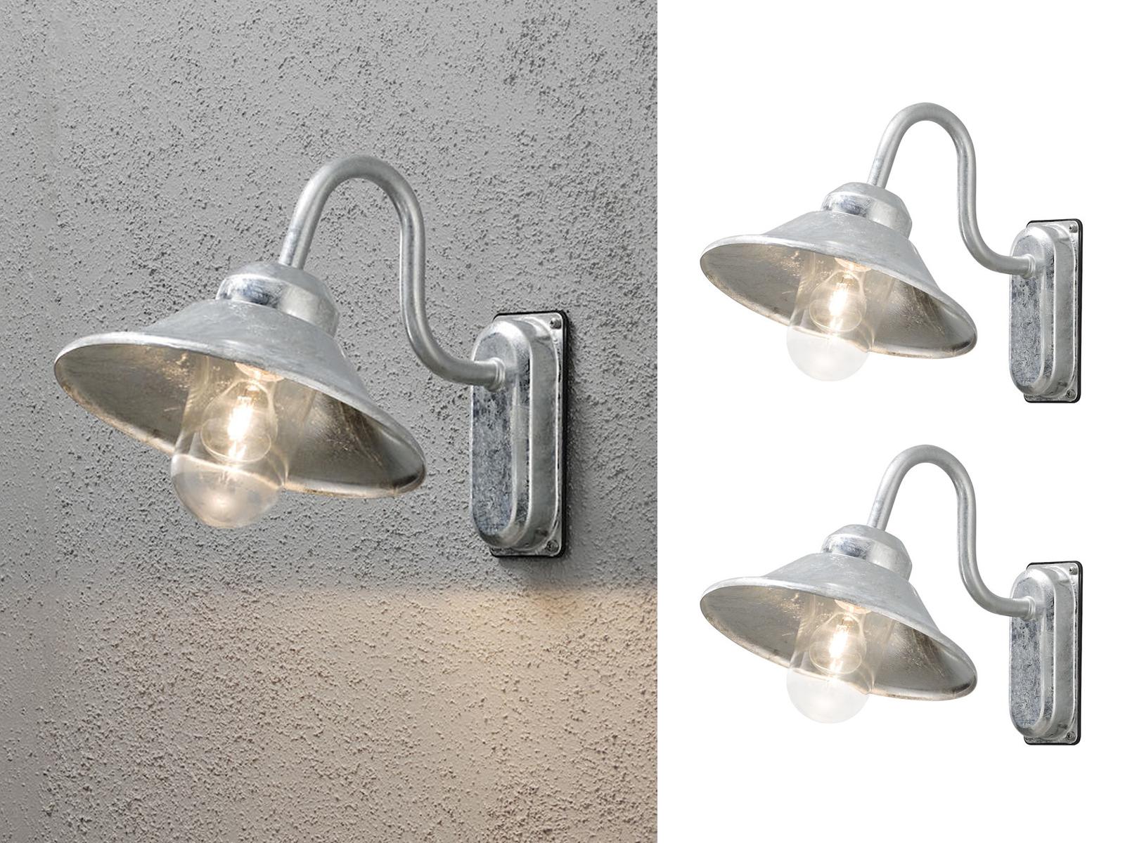 2er-set muro esterno luci Applique Vega acciaio zincato e27