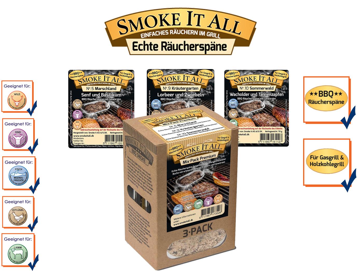 BBQ Räucherspäne Räuchermischung Räuchermehl mit Gewürzen MIX PACK-02