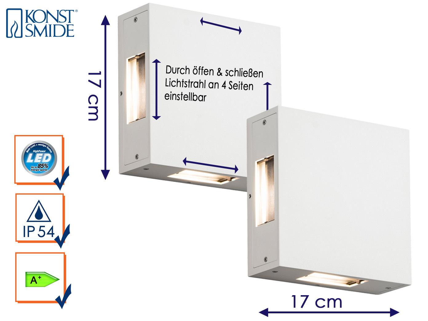 2er-Set LED Außenwandleuchte CREMONA weiß Lichtstrahl individuell einstellbar   Verschiedene Stile und Stile    Sonderpreis    Erste Kunden Eine Vollständige Palette Von Spezifikationen